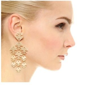 Tory Burch Fish Gold Metal Chandelier Earrings